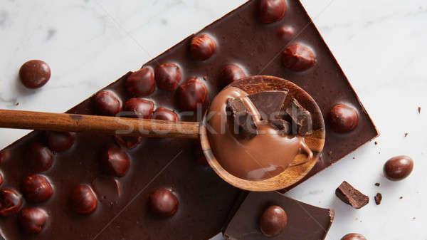 Fakanál csokoládé golyók fehér márvány absztrakt Stock fotó © artjazz