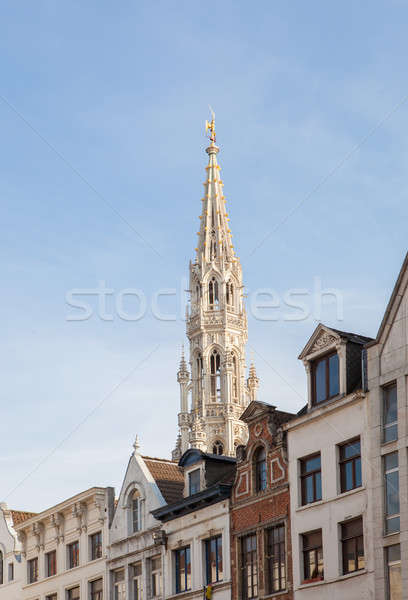 spire of the City hall in Brussels Stock photo © artjazz