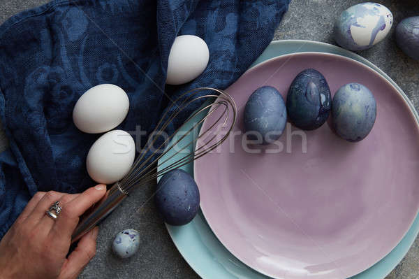 Stock photo: many chicken eggs