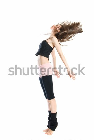 Foto stock: Posando · jovem · dançarina · isolado · branco · mulher