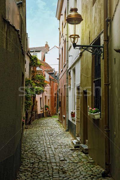 Oude straat bloemen Brussel België huis Stockfoto © artjazz