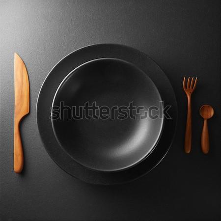 Tablicy sztućce czarny tabeli metal kuchnia Zdjęcia stock © artjazz