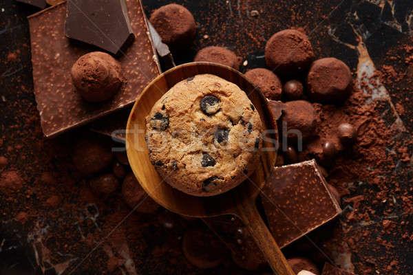 Fresh homemade chocolate chip cookies Stock photo © artjazz