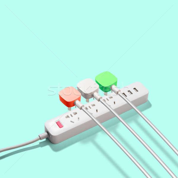 Três elétrico poder abstrato luz cabo Foto stock © artjazz