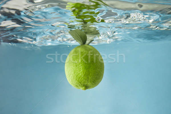 A whole lime with green leaves falls into the water on a blue background Stock photo © artjazz