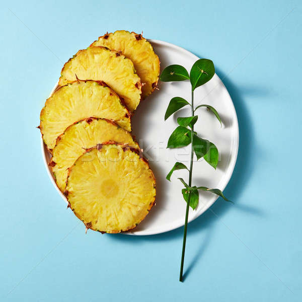 ピース パイナップル 緑 小枝 プレート ストックフォト © artjazz