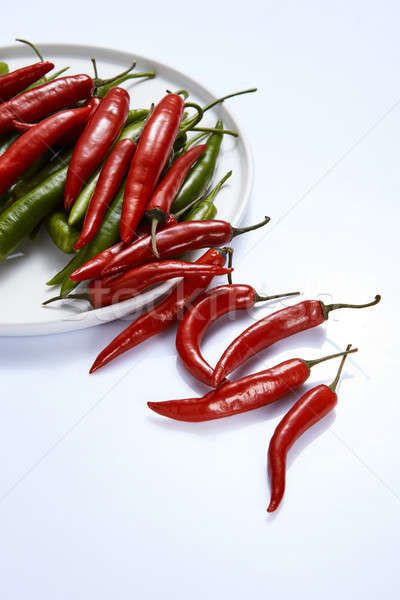 Hot chili pepper green and red in a white plate on a white backg Stock photo © artjazz