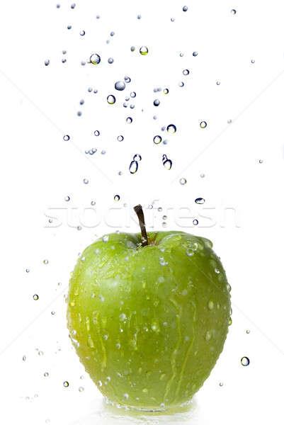Eau douce gouttes vert pomme isolé blanche Photo stock © artjazz