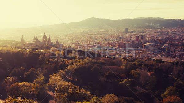 Barcelona cidade panorâmico ver montanha Espanha Foto stock © artjazz