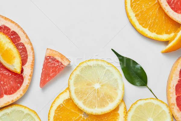 Közelkép friss narancs grapefruit citrus citrom Stock fotó © artjazz