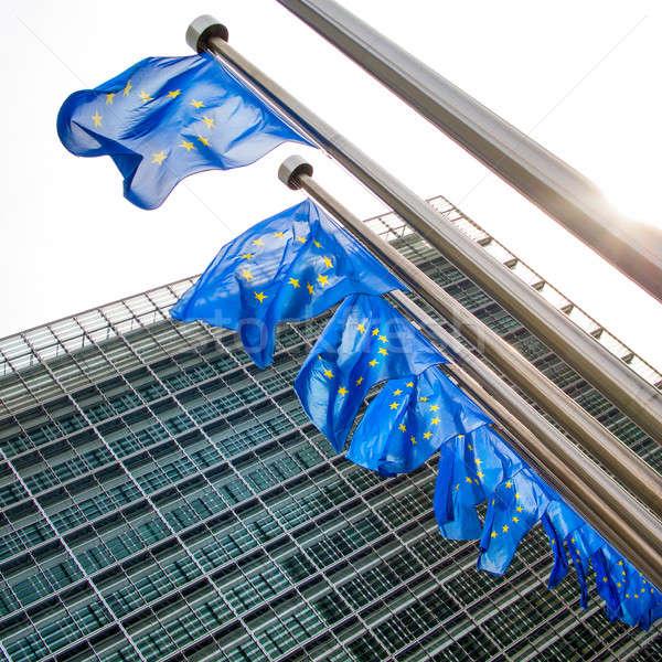 EU flag waving in front of European Parliament Stock photo © artjazz