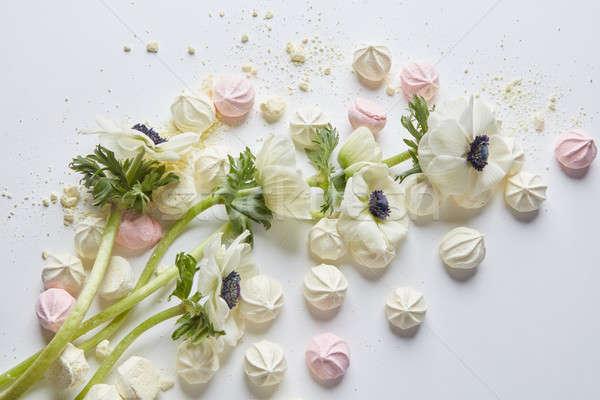 Witte bloemen witte roze bloem voorjaar blad Stockfoto © artjazz