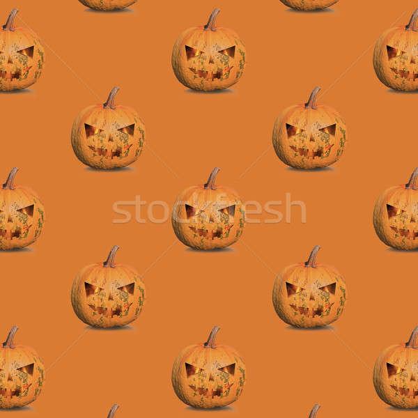 Pompoenen halloween patroon oranje achtergrond ruimte Stockfoto © artjazz