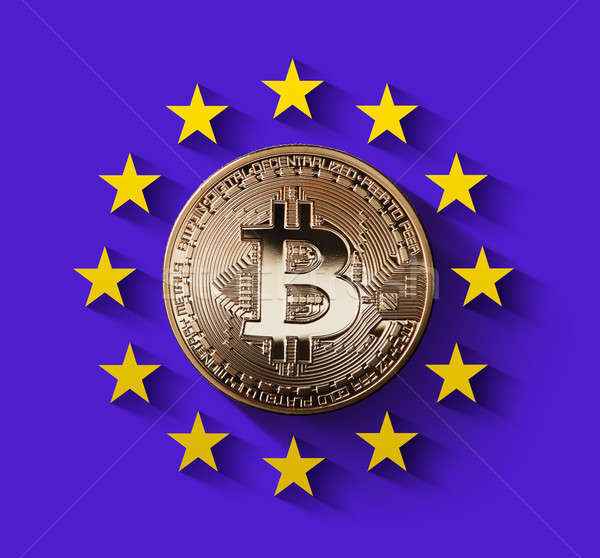 bitcoin Gold coin with the symbol of Europe on an ultraviolet background Stock photo © artjazz
