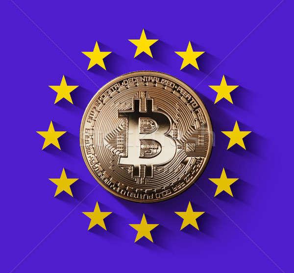 Bitcoin moeda de ouro símbolo europa europeu Foto stock © artjazz