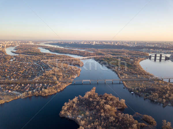 Landscaped view of the city of Kiev with the Dnieper River, the left side of the city Stock photo © artjazz