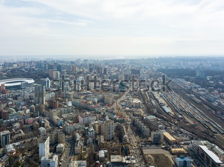 Kiev, Ukraine - April 7, 2018: Beautifu aerial view cityscape Kiev in spring and the Olympic stadium Stock photo © artjazz