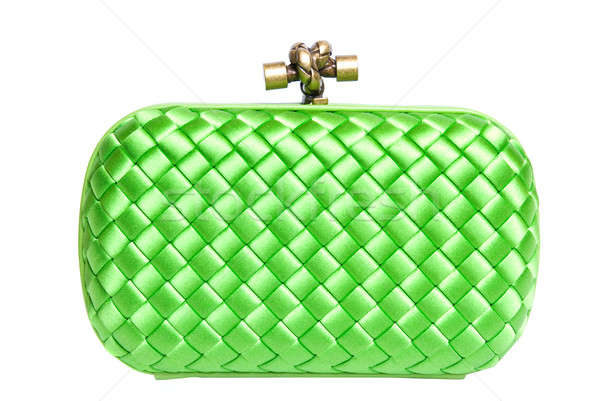 green silk clutch isolated on white Stock photo © artjazz