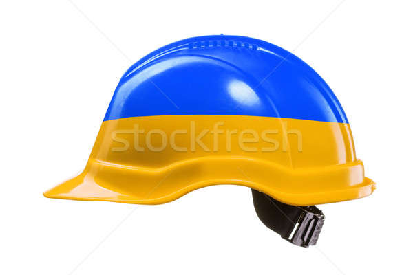 Blue and yellow hard hat isolated on white. National colors of U Stock photo © artjazz