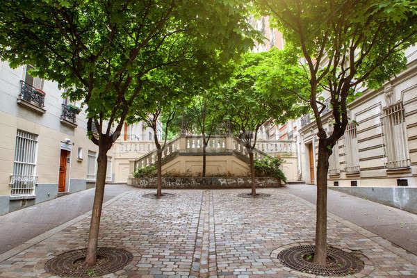 Groene bomen montmartre straat Parijs Frankrijk Stockfoto © artjazz