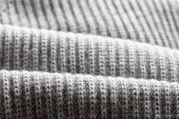Macro grigio maglia tessuto lana Foto d'archivio © artjazz