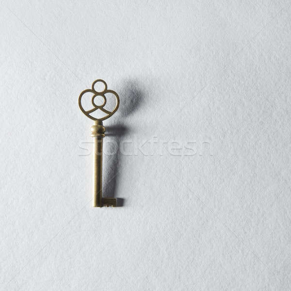 Schlüssel antiken golden Türschlüssel isoliert weiß Stock foto © artjazz