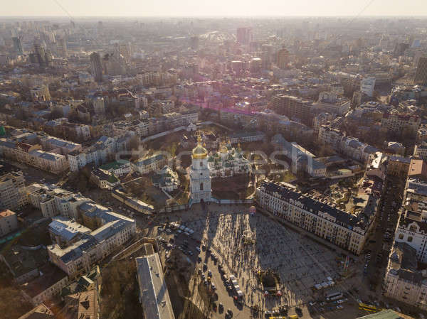 Aerial top view of St Sophia cathedral and Kiev city skyline from above, Stock photo © artjazz