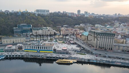 view of Podil, River station and the river Dnieper in Kyiv, Ukraine Stock photo © artjazz