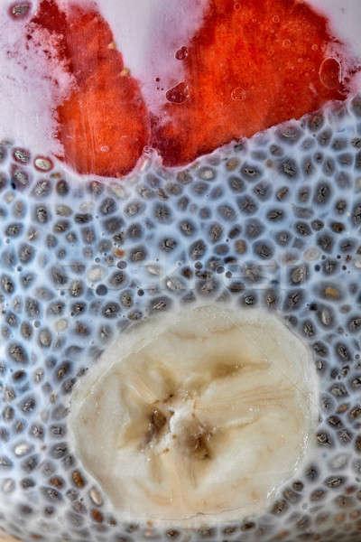Tohum çilek muz yoğurt makro fotoğraf Stok fotoğraf © artjazz