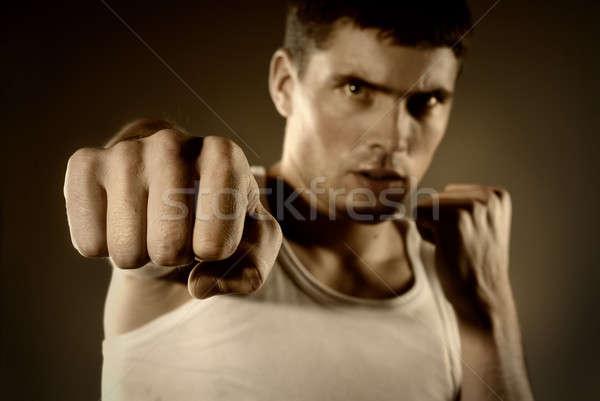 Retrato luchador edificio construcción deporte energía Foto stock © artjazz