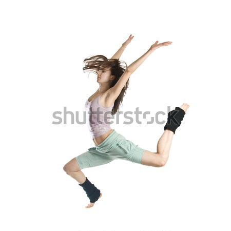 jumping young dancer isolated on white background Stock photo © artjazz