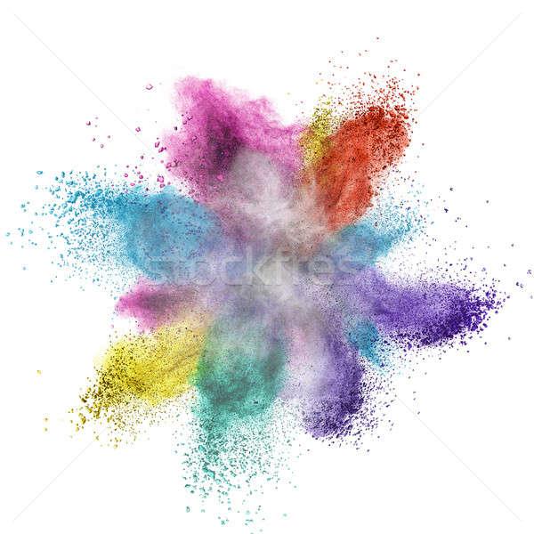 Color powder explosion isolated on white Stock photo © artjazz