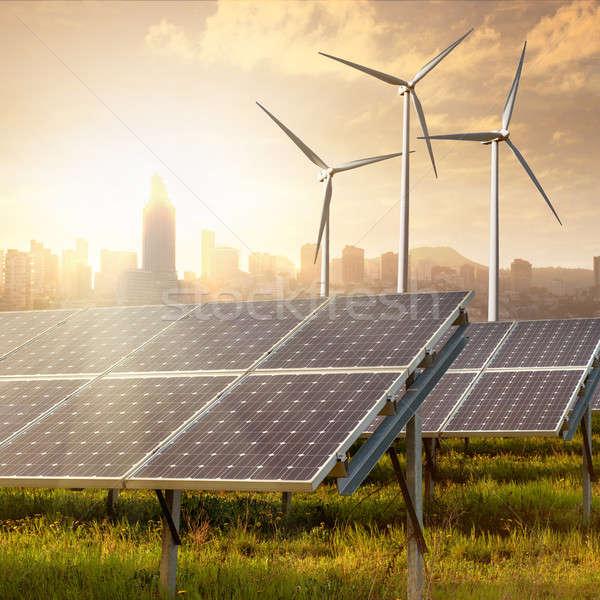 Zonnepanelen hemel blauwe hemel gras technologie groene Stockfoto © artjazz