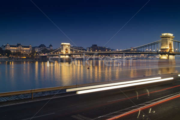 Stunning night cityscape of Budapest with the Chain Bridge in the background. Stock photo © artjazz