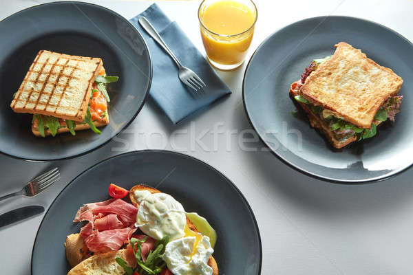 Stockfoto: Ontbijt · tabel · gezonde · voeding · toast · sandwich · eieren