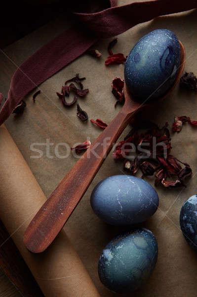 preparation of Easter eggs Stock photo © artjazz