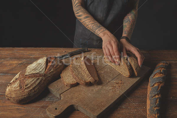 Sliced bread on a board Stock photo © artjazz