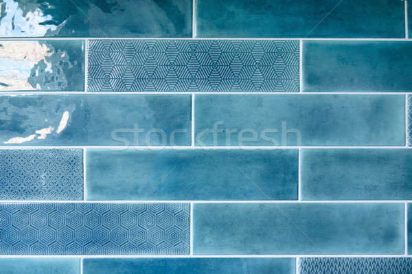 Stock photo: Blue background with ceramic tiles