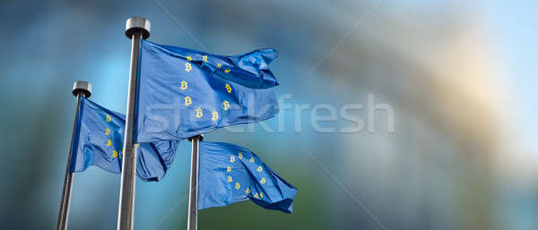 Symbol bitcoin on the blue flag. Stock photo © artjazz