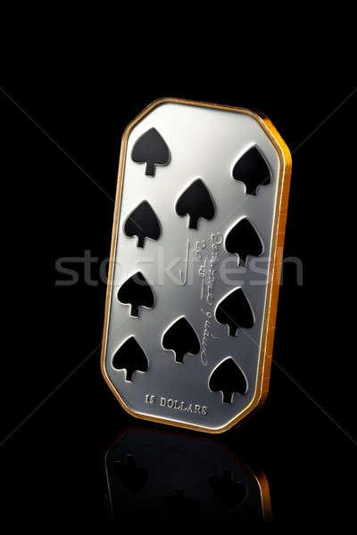 Tíz pikk ezüst érme izolált fekete Stock fotó © artjazz