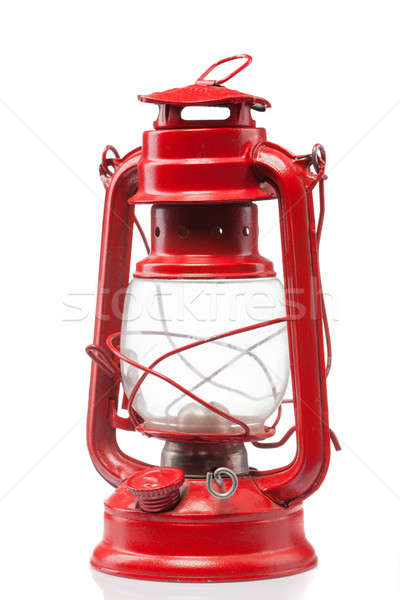 Red vintage gas lamp isolated on white Stock photo © artjazz