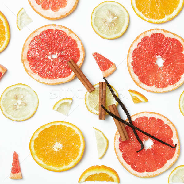 Collection of fresh citrus on white background. Stock photo © artjazz