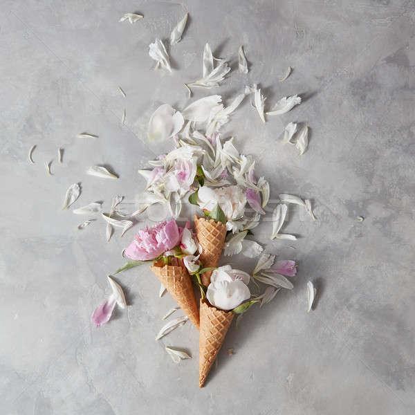 Creative цветы вафля белый Сток-фото © artjazz