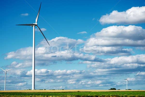 Wind generator turbines on summer landscape Stock photo © artjazz
