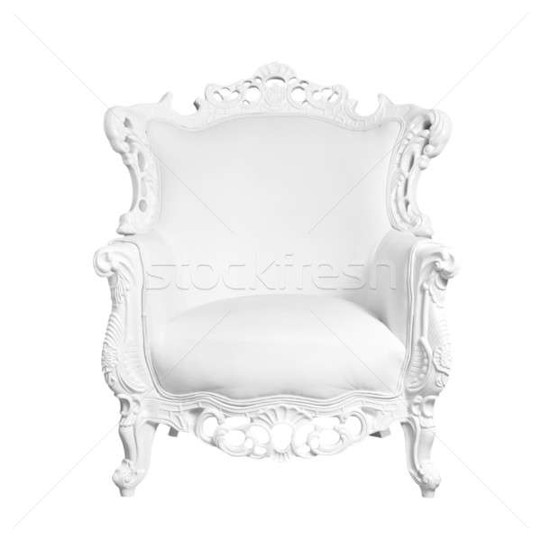 stock photo antique white leather chair isolated on white