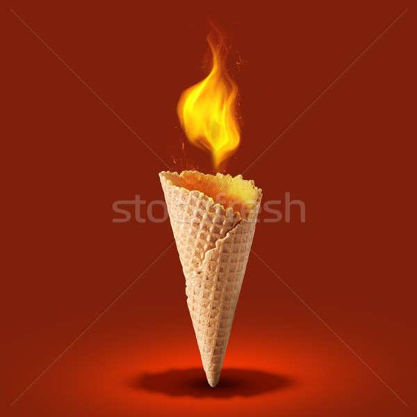 Hóstia cone fogo cor doce vermelho Foto stock © artjazz