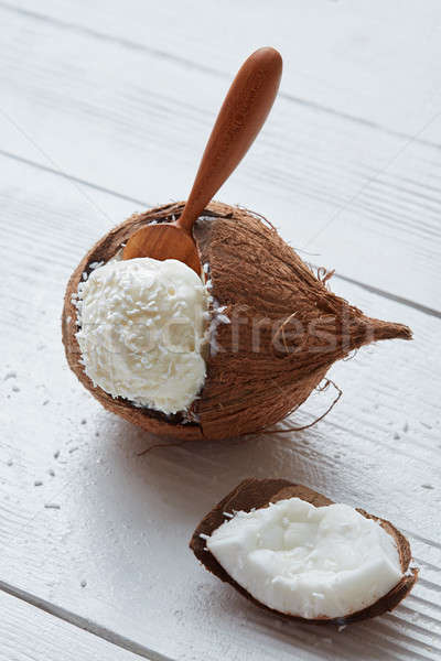 Delicious vanilla ice cream in coconut Stock photo © artjazz