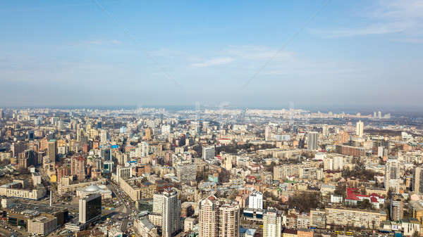 Kiev, city center, panoramic view on a sunny day against the blue sky. Photo from the drone Stock photo © artjazz