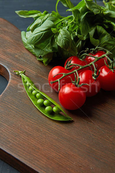 Ingredients for toasts with basil-pea paste and tomatoes on a wo Stock photo © artjazz