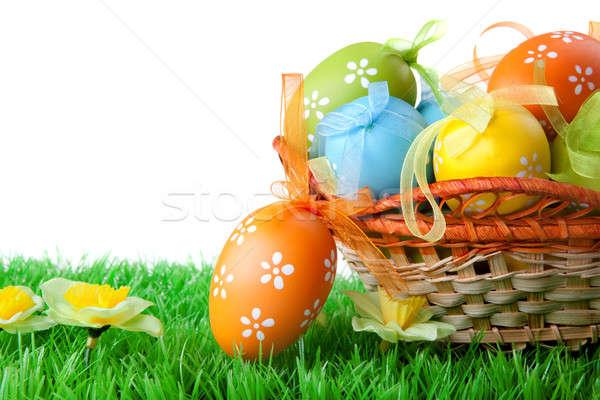 Stock fotó: Szín · húsvéti · tojások · kosár · izolált · fehér · húsvét